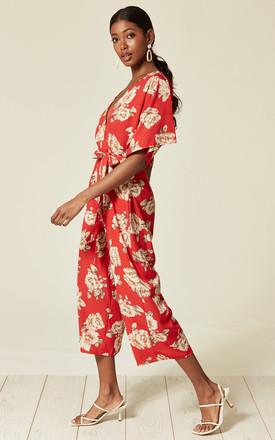 Kimono Sleeve Jumpsuit in Red Floral Print by Faux England