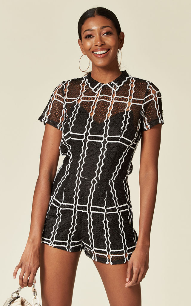 AUBURY - GRID LACE PLAYSUIT IN BLACK by Goldie