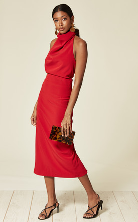High Neck Backless Midi Dress in Pillar Red by House Of Lily