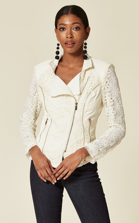 NAOMI LACE AND FAUX LEATHER BIKER JACKET in WHITE by Lucy Sparks
