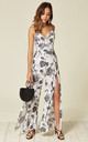 Split Leg Wrap Over Jumpsuit in White Floral Print by Oeuvre