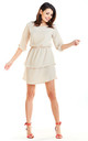 Sexy Mini Dress with U-Neck and Short Sleeves in Beige by AWAMA
