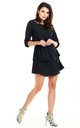Sexy Mini Dress with U-Neck and Short Sleeves in Black by AWAMA