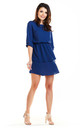 Sexy Mini Dress with U-Neck and Short Sleeves in Blue by AWAMA