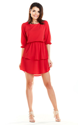 Sexy Mini Dress with U-Neck and Short Sleeves in Red by AWAMA