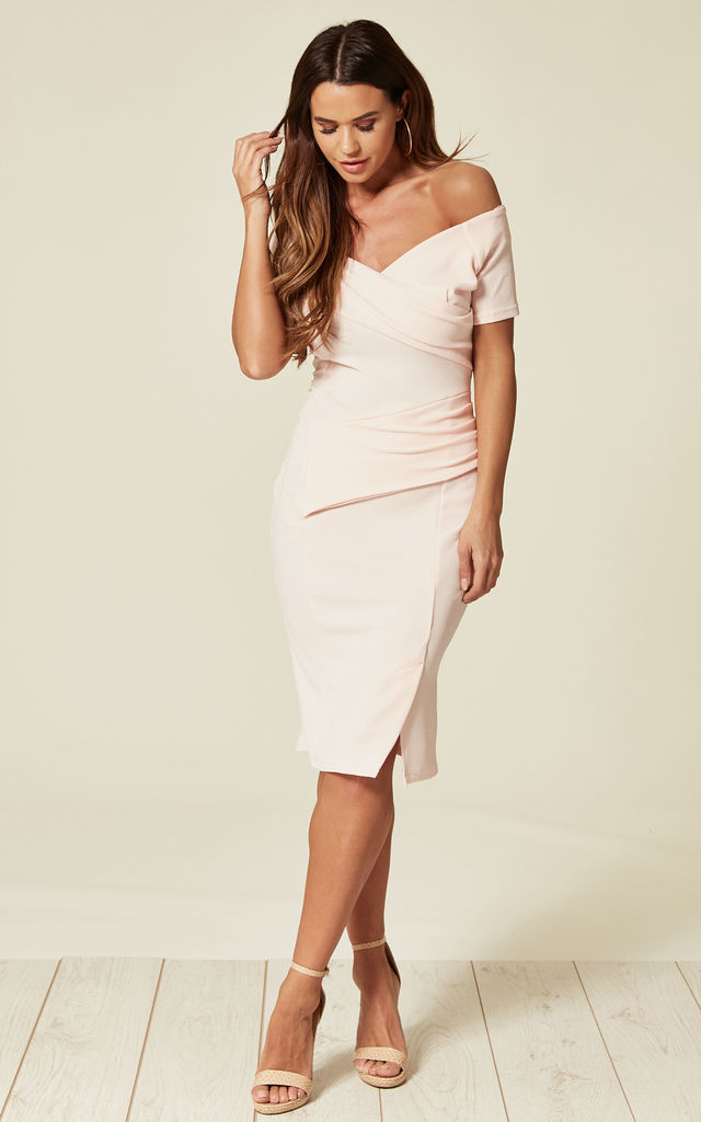 9cf10c2ac2c0 Bardot Off Shoulder Dress in Pink by Feverfish