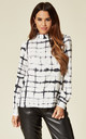 Button Down Back Top Black and White by Love