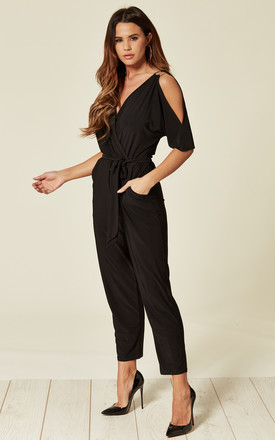 PETITE Cold Shoulder Jumpsuit with O-Ring Wrap Detail in Black by Mellie