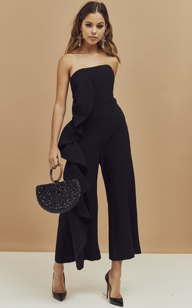 Carissa Strapless Frill Detail Jumpsuit In Black by Bardot Product photo