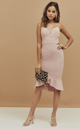 Kristen Strappy Peplum Dress In Blush Pink by Bardot Product photo