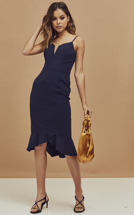 Kristen Strappy Peplum Dress In Navy by Bardot Product photo