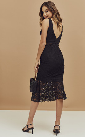 Fiona Midi Trumpet Dress in Black Lace by Bardot