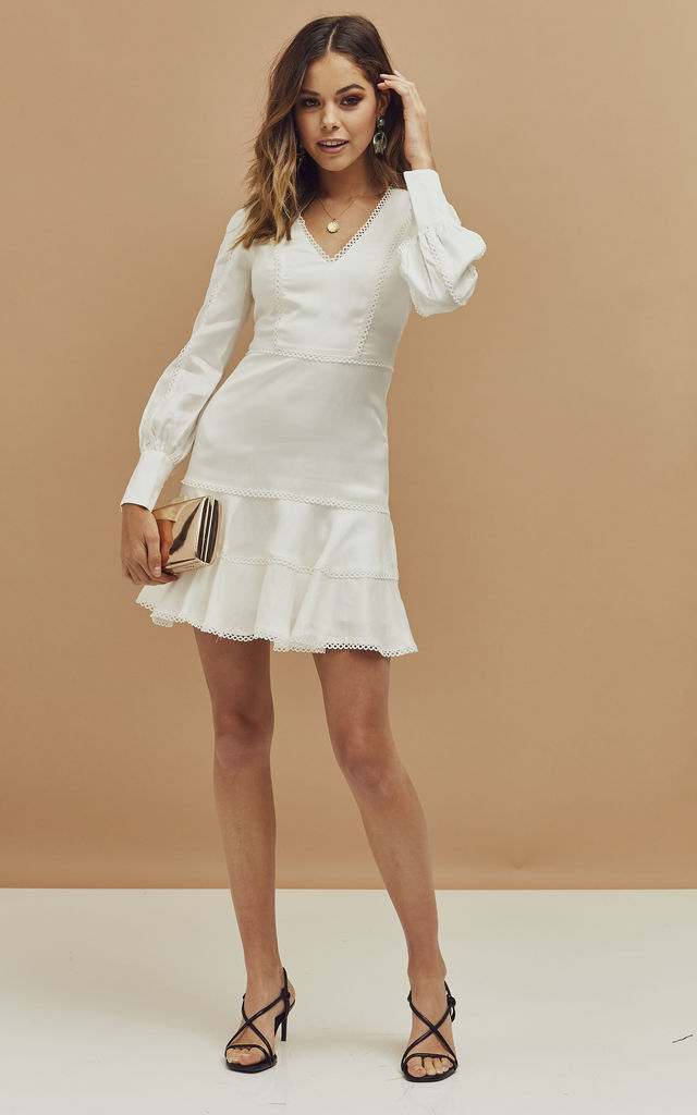 Priano Mini Dress with Lace Trim in White by Bardot