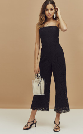 Sienna Strappy Lace Jumpsuit In Black by Bardot Product photo