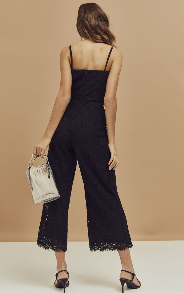 Sienna Strappy Lace Jumpsuit in Black by Bardot