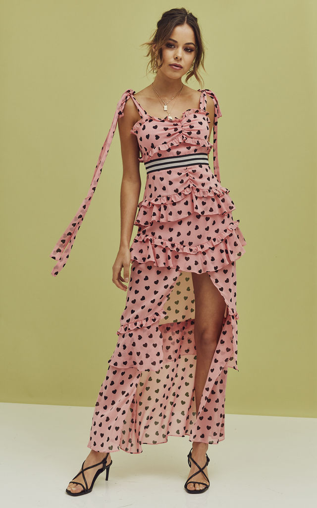Maison Maxi Dress in Pink heart print by For Love And Lemons