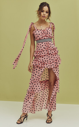 Maison Maxi Dress In Pink Heart Print by For Love And Lemons Product photo