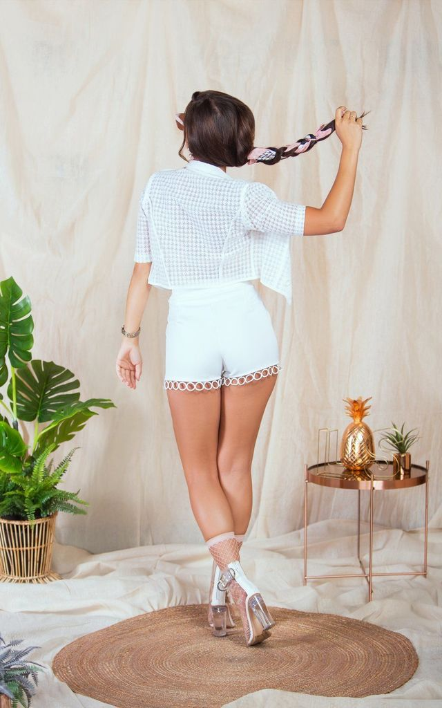 Azara White Hoop Trim High Waisted Shorts by Lavand Stories