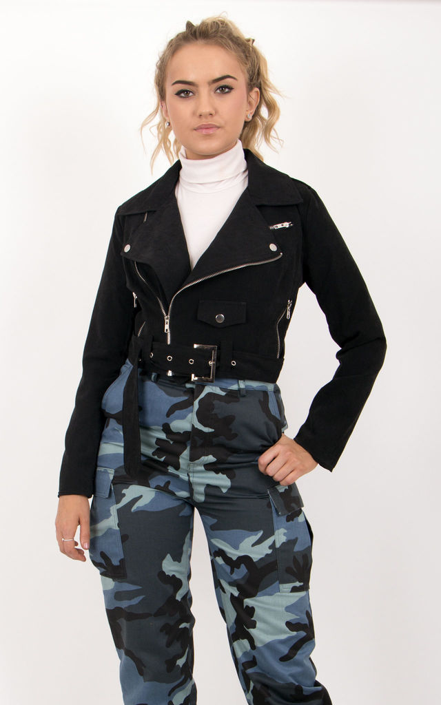 Black Faux Suede Belted Biker Jacket by MISSTRUTH