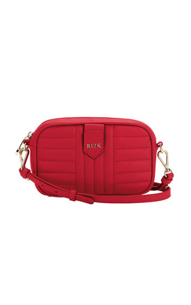 Quilted Mini Cross body Bag in Red by RI2K London