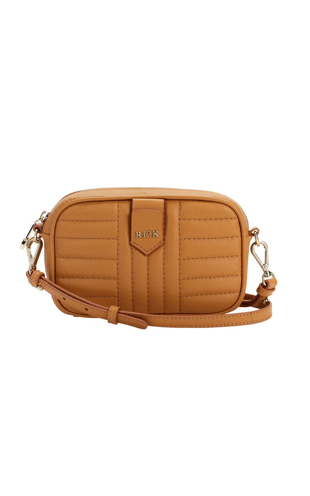 Quilted Mini Crossbody Bag in Terra Brown by RI2K London