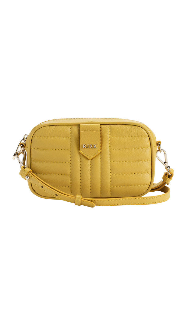 Quilted Mini Crossbody Bag in Yellow by RI2K London