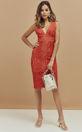 Lace Midi Dress with Deep V-Neck in Flame Orange by Bardot