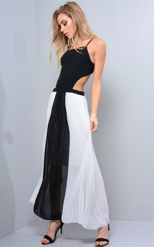 White And Black Pleated Maxi Dress by LOVEMYSTYLE