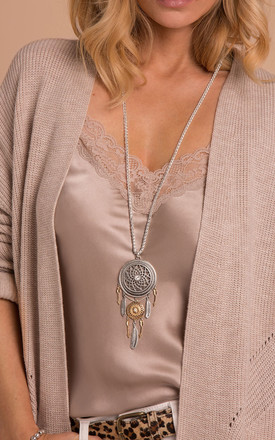 Ava Dreamcatcher Pendant Necklace in Silver/Gold by Bibi Bijoux