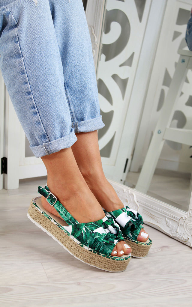 Green Slingback Espadrille Sandals by Larena Fashion