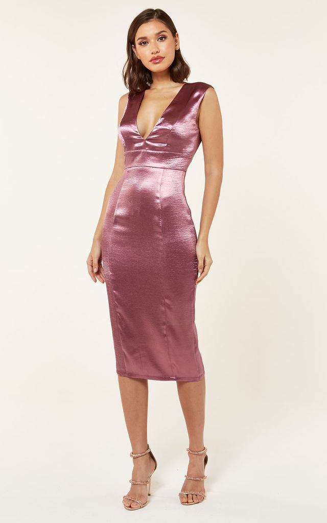 742ff0d42f52 Satin Plunge Midi Dress in Plum by The Girlcode