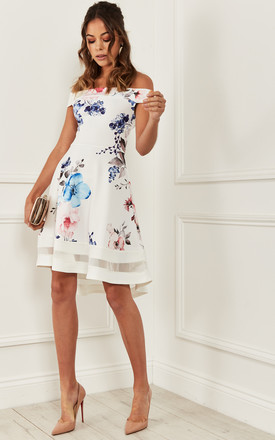 Bardot Skater Dress In White Floral by Bella and Blue Product photo