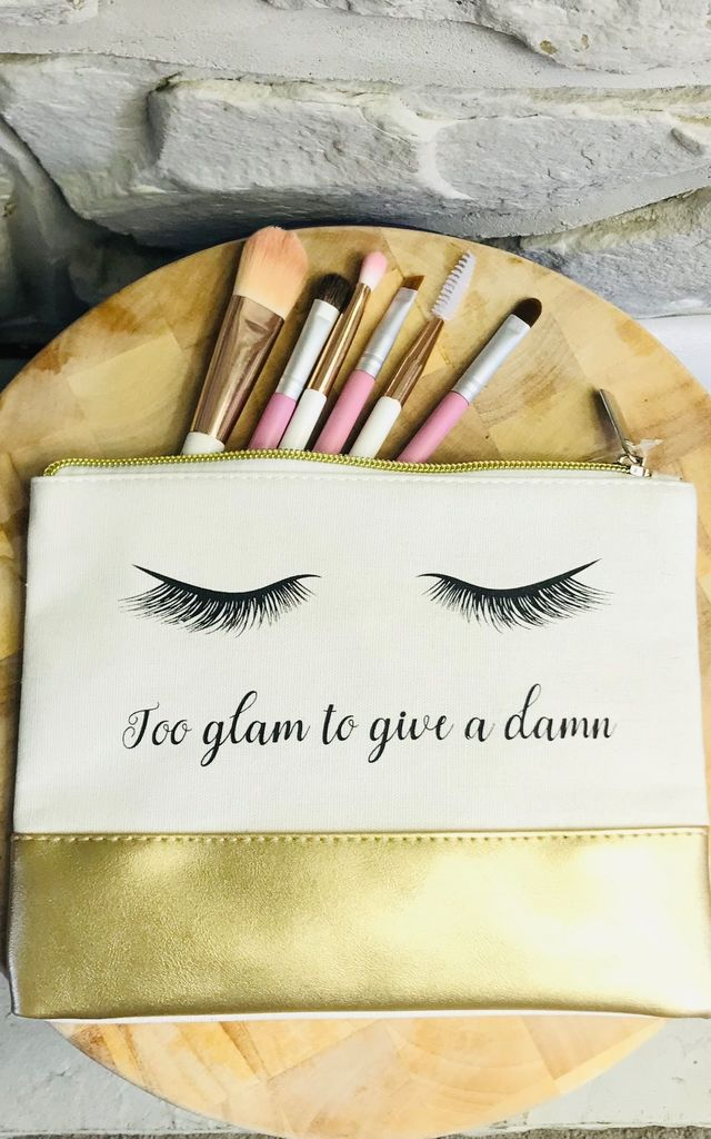 'Too glam to give a damn' Make up and Cosmetics bag in White/Gold by Pink Lemonade Boutique