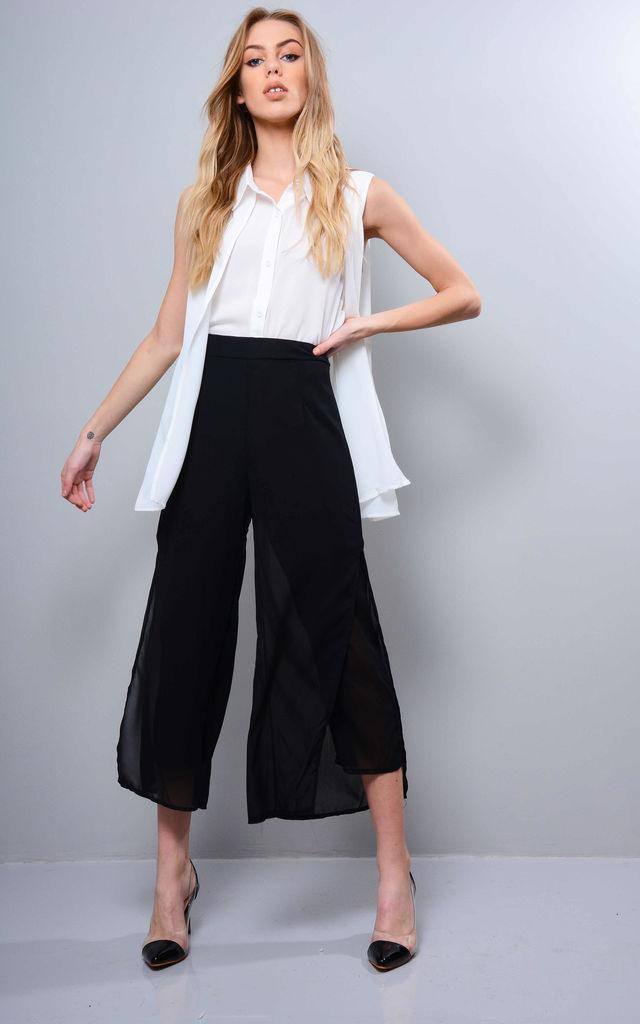 Black High Waist Culottes With Chiffon Overlay by LOVEMYSTYLE