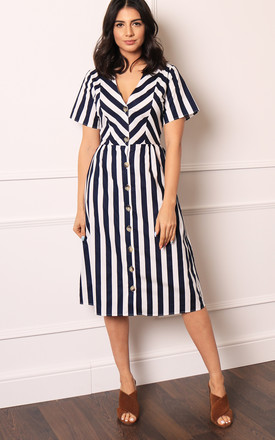 V Neck Fit & Flare Button Through Midi Dress With Short Sleeves In Navy & White Stripe by One Nation Clothing Product photo