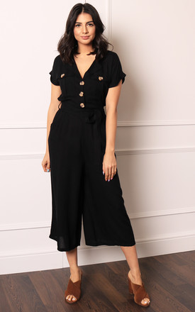 Short Sleeve Belted Utility Boiler Suit Jumpsuit With Cropped Wide Culotte Leg In Black by One Nation Clothing Product photo