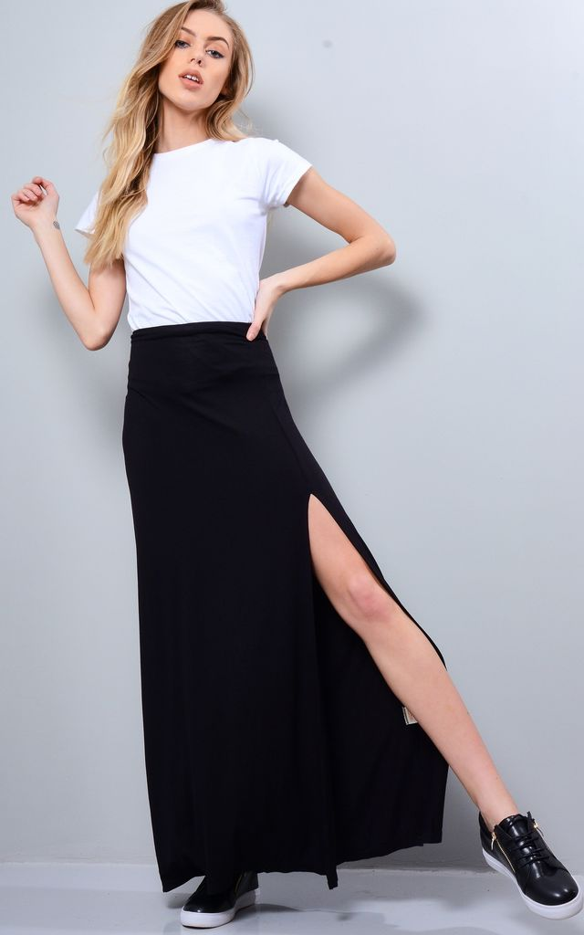 Black Maxi Skirt With Double Side Split by LOVEMYSTYLE