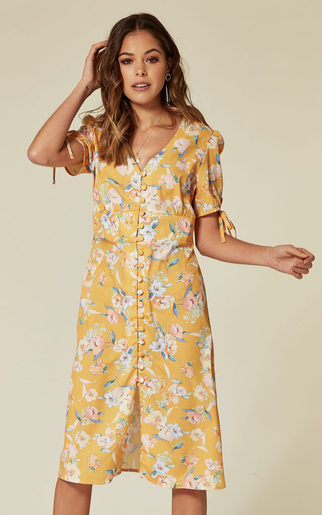 600c7a5dc0b Short Sleeve Midi Dress with Buttons in Yellow Floral Print by L Atelier  London