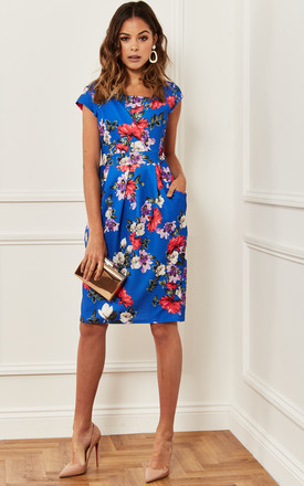 Blue Floral Tulip Dress With Side Pockets by Luna Product photo