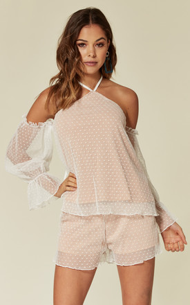 Nude and white mesh/lace overlay short and off the shoulder top set by Luxy Boutique
