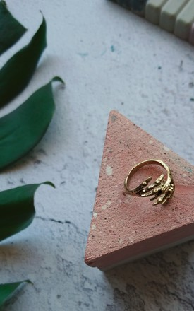 Gold Ring with Skeleton Clasp Detail by Emi Jewellery