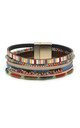 Mole Multi Strand Leather Bracelet with Magnetic Clasp in Multicolour by Boho Betty