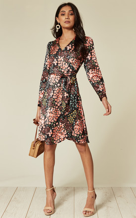 Slim Fit Coral And Black Digital Floral Print Satin Long Sleeve Wrap Dress by D.Anna Product photo