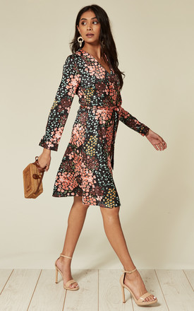Slim-fit Coral and black digital floral print satin long sleeve wrap dress by D.Anna