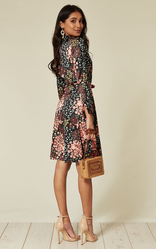 913bd4754c4 Coral and black digital floral print satin long sleeve wrap dress by D.Anna