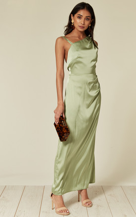 Satin Maxi Dress With Asymmetric Neckline In Mint Green by D.Anna Product photo