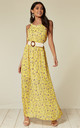 Halter Neck Maxi Dress in Yellow Floral Print by TENKI LONDON