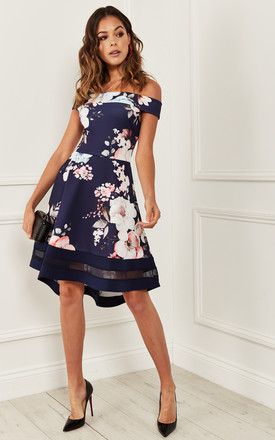 Bardot Skater Dress In Navy Floral by Bella and Blue Product photo