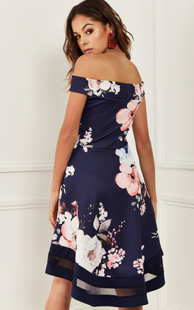 Bardot Skater Dress In Navy Floral by Bella and Blue