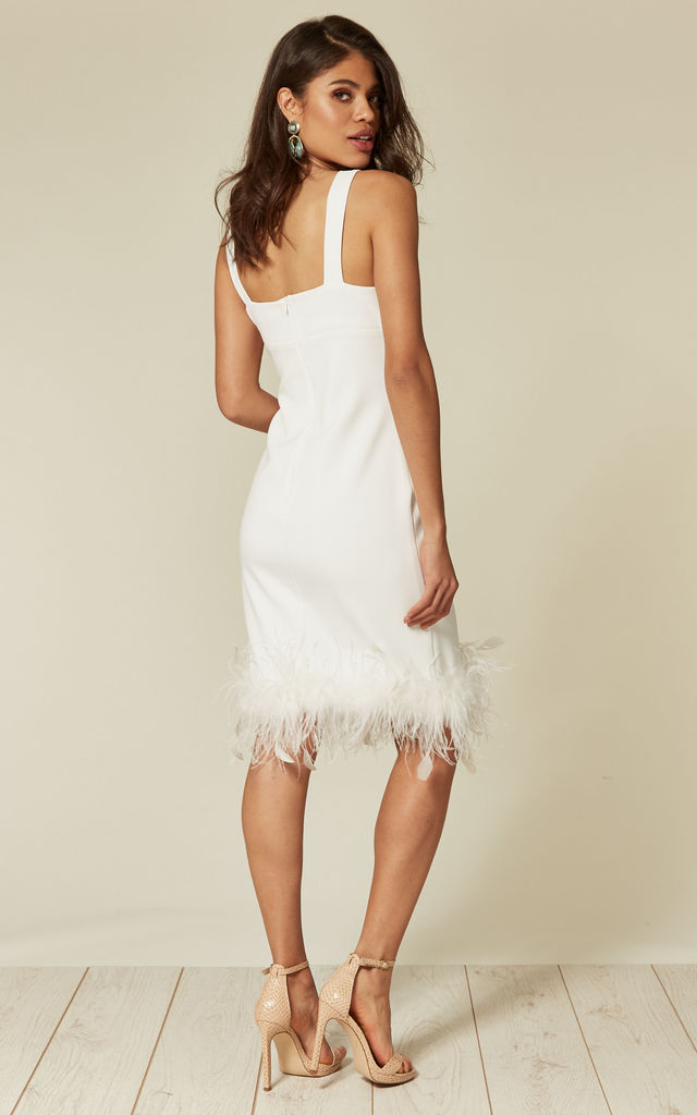 AUDREY WHITE FEATHER MIDI DRESS by Revie London